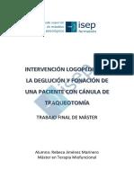TFM Rebeca Jimenez - Intervención logopédica en la deglución y fonación de una paciente con cánula de traqueotomía