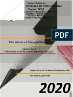 INFORME 1 VALORACION DE LA ETICA EN LA PSICOLOGIA ESCOLAR