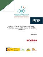Primer informe del Observatorio de Publicidad Responsable frente al Cambio Climático