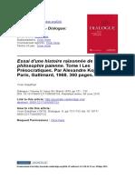 Dialogue- Canadian Philosophical Review (Cambridge) Volume 8 issue 4 1970 [doi 10.1017_S0012217300050733] Gauthier, Yvon -- Essai d'une histoire raisonnée de la philosophie paienne. Tome I Les Préso