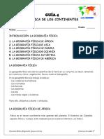 GUÍA DE SOCIALES GEOGRAFÍA FÍSICA  DE LOS CONTINENTES GRADO 6°