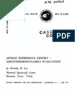Apollo Experience Report Aerothermodynamics Evaluation