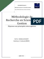 Synthèse Méthodologie de recherche Finale