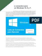 comandos para Ejecutar en Windows 10, 8 y 7