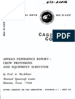 Apollo Experience Report Crew Provisions and Equipment Subsystem