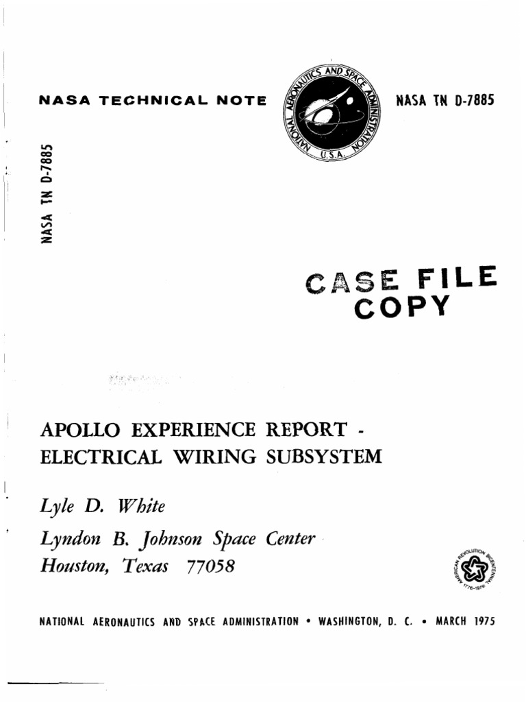 Apollo Experience Report Electrical Wiring Subsystem See Page Wire Harness With Splice Points Code Command Service Module Connector