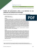 Análisis del pensamiento crítico y sus dominios en una población de estudiantes de Psicología