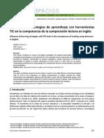 Influencia de estrategias de aprendizaje con herramientas TIC en la competencia de la comprensión lectora en inglés