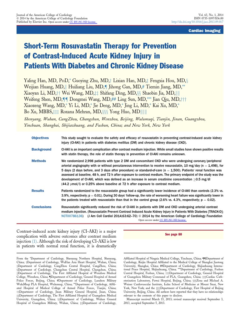 Short Term Rosuvastatin Therapy For Prevention Of Contrast Induced Acute Kidney Injury In Patients With Diabetes And Chronic Kidney Disease Renal Function Chronic Kidney Disease