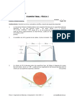 Examen Final. Física I. Ingeniería de Sistemas y Computación. Ciclo 2015 - I