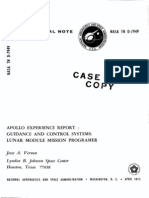 Apollo Experience Report Guidance and Control Systems Lunar Module Mission Programer