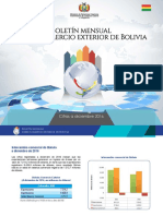 BOLETIN MENSUAL SOBRE COMERCIO EXTERIOR DE BOLIVIA A DICIEMBRE 2016