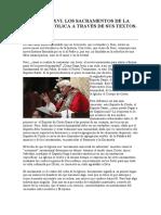 Benedicto XVI. Homilía sobre los sacramentos