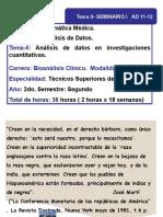 Tema II. Seminario I. Estadistica Descriptiva- Inferencial