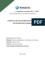 PCC- ASPECTOS ANTROPOLÓGICOS E SOCIOLÓGICOS DA EDUCAÇÃO - AUSÊNCIA DE SANEAMENTO BÁSICO NO MUNICÍPIO DE ITABORAÍ