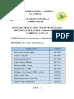 DETERMINACIÓN DE LAS PROPIEDADES MECÁNICAS DE LA PAPA ( Solanum tuberosum) VARIEDAD CANCHAN