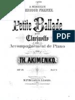 Akimenko - Petite Ballade Pour Clarinette Et Piano