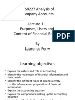 Lecture 1 - Purposes, Users and Content of Financial Reports