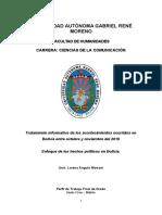 Analisis Del Tratamiento de Los Hechos de Octubre y Noviembre en Bolivia