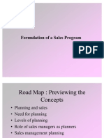Formulation of Sales Program