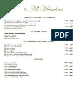 Carte Du Restaurant Al Hambra 2020