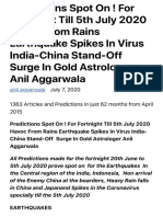 Predictions Spot On ! For Fortnight Till 5th July 2020 Havoc From Rains Earthquake Spikes In Virus I