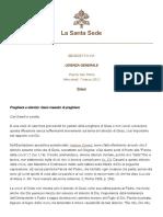 Preghiera e silenzio - Benedetto XVI