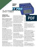 Pro Timer Instruction Manual