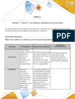Anexo 1 - Tarea 3 - Los enfoques disciplinares en psicología