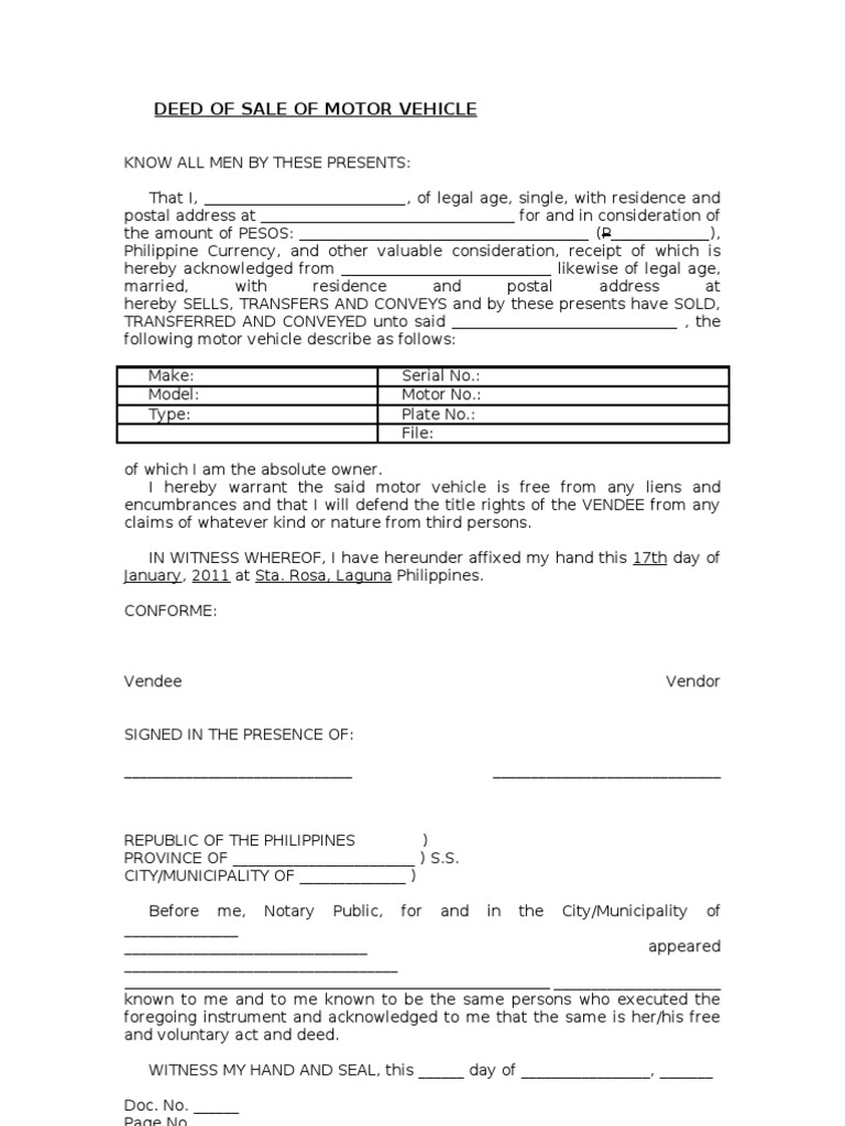 Blank deed of sale of motor vehicle template for Motor vehicle for sale