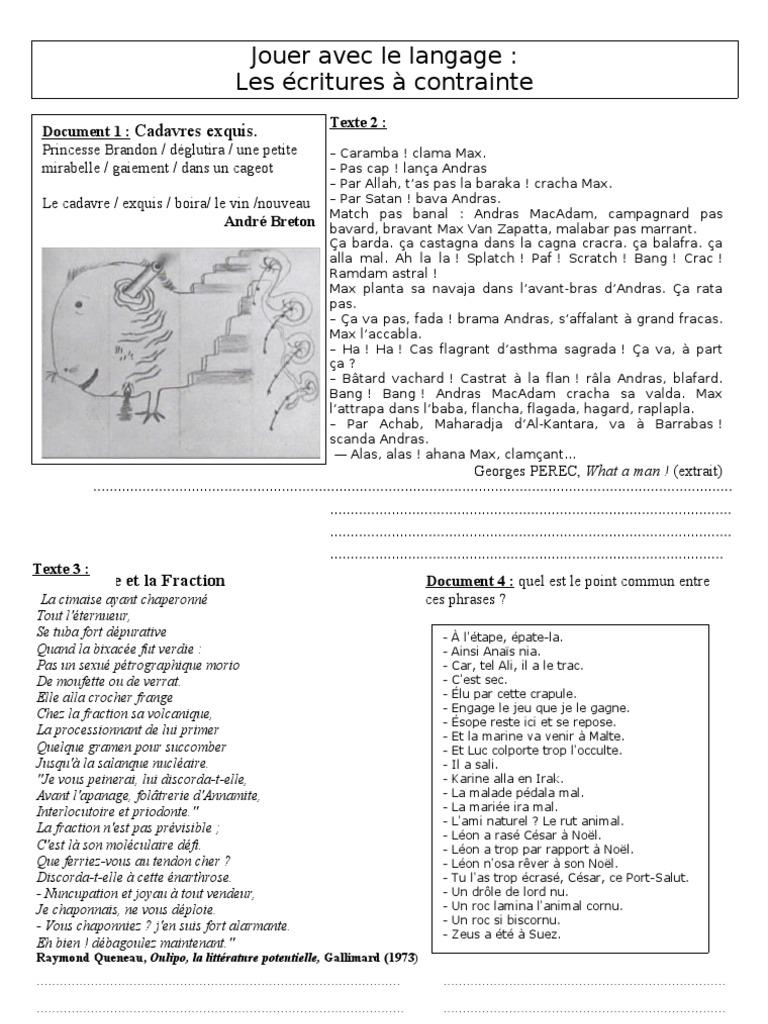 Favori Les écritures à contraintes (surréalisme et oulipo) NK96