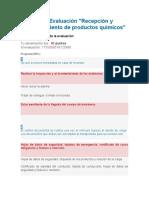 Evaluación Recepción y almacenamiento de productos químicos