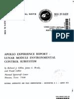 Apollo Experience Report Lunar Module Environmental Control Subsystem