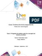 Tarea 1 - Faride Yepez -  15 - Responder preguntas de análisis sobre los conceptos de lectura y escritura