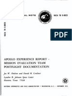 Apollo Experience Report Mission Evaluation Team Post Flight Documentation