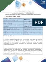 Syllabus del curso Modelos Gerenciales para la Innovación