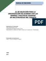 MANUAL DE FUNCIONES  - SELECION 1