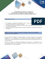 Presentación del curso Cálculo Integral formato pdf.