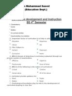 Curriculum development and instruction MCQs 4ht semester