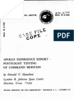 Apollo Experience Report Post Flight Testing of Command Modules