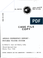 Apollo Experience Report Potable Water System