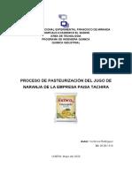 PASTEURIZACION DEL  JUGO DE NARANJA