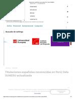 Titulaciones españolas reconocidas Perú_ lista SUNEDU