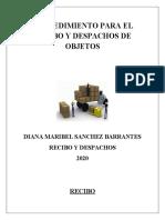 PROCEDIMIENTO PARA EL RECIBO Y DESPACHOS DE OBJETOS