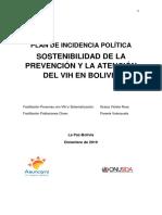 Plan de Incidencia Politica Para La Sostenibilidad de La Atencion y La Prevencion Del VIH en Bolivia Nov 2019