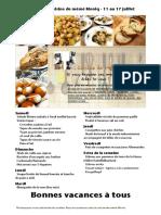 Menu de La Cuisine de Meme Moniq 11 Au 17 Juillet