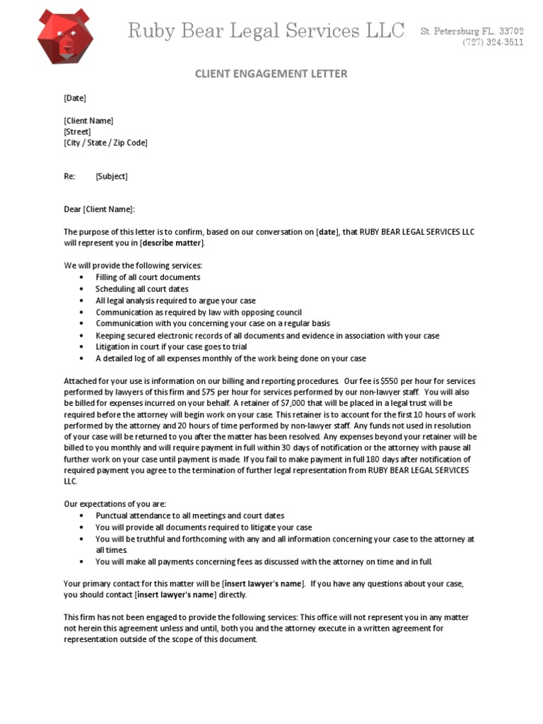 Ruby Bear Legal Services Llc Client Engagement Letter Lawyer Government Information