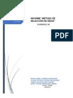 """""""MÉTODO DE SELECCIÓN DE IDEAS"""" EVIDENCIA 10"""