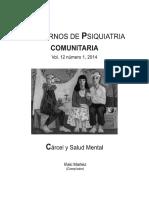 Cuadernos de psiquiatría comunitaria (Vol. 12, N° 1, 2014). Cárcel y salud mental
