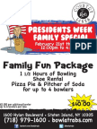 Rab's Country Lanes President Week Family Bowling Special